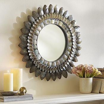 Mirrors - Bethany Round Shell Mirror | Pottery Barn - round seashell mirror, gray seashell mirror, gray shell framed mirror,