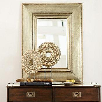 Mirrors - Theroux Silver Clad Mirror | Pottery Barn - silver foiled mirror, antiqued silver mirror, champagne silver leafed mirror,
