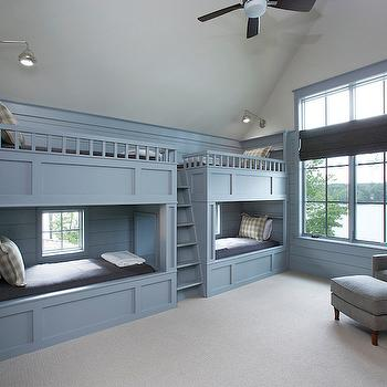 Blue Bunk Beds, Cottage, boy's room, Sherwin Williams Gris, Markalunas Architecture Group