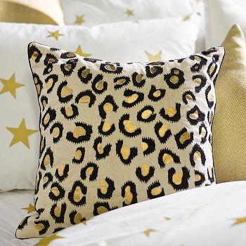 Pillows - The Emily + Meritt Leopard Pillow Cover | PBteen - black and gold leopard pillow, leopard print pillow, kids leopard print pillow,