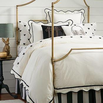 Bedding - The Emily + Meritt Scallop Duvet Cover + Sham | PBteen - black and white scalloped bedding, black and white scalloped duvet, white duvet with scalloped black trim,