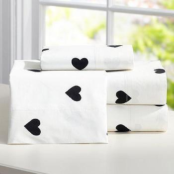 Bedding - The Emily + Meritt Heart Sheet Set | PBteen - black and white heart bed sheets, white sheets with black hearts, black heart print bed sheets,