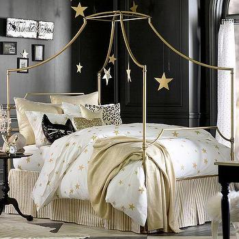 Bedding - The Emily + Meritt Scattered Star Duvet Cover + Sham | PBteen - gold star duvet, metallic gold star print duvet, white duvet cover with gold stars,