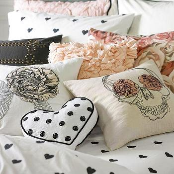 Pillows - The Emily + Meritt Stitch Pillow Covers | PBteen - embroidered skull pillow, embroidered rose pillow, black and pink rose pillow, black and pink skull pillow,