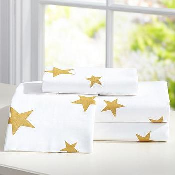 Bedding - The Emily + Meritt Metallic Star Sheet Set | PBteen - gold star print sheets, white sheets with gold stars, metallic gold bed sheets,