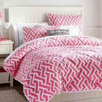 Bedding - Links A Lot Comforter + Sham, Bright Pink | PBteen - pink fretwork comforter, pink fretwork duvet, pink fretwork kids bedding, geometric pink kids comforter,