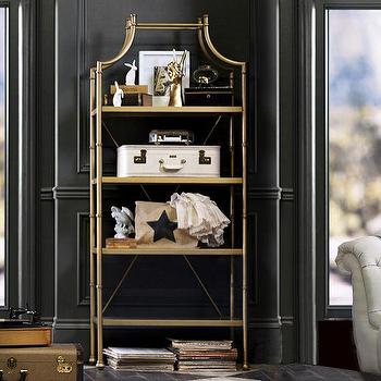 Storage Furniture - Maison Bookcase | PBteen - antique gold bookcase, gold hollywood regency bookcase, antique gold etagere,