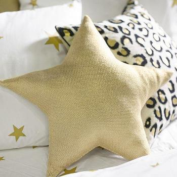 Pillows - The Emily + Meritt Liquid Gold Star Pillow | PBteen - gold star pillow, metallic gold star pillow, star shaped kids pillow,