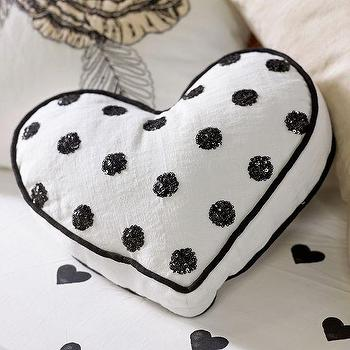 Pillows - The Emily + Meritt Heart Sequin Pillow | PBteen - black and white heart pillow, polka dot heart pillow, black polka dot heart pillow,