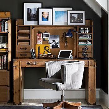 Storage Furniture - Travelers Desk + Hutch | PBteen - campaign style desk, campaign style kids desk, steamer trunk wooden desk, kids desk with hutch,