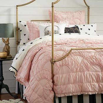 Bedding - The Emily + Meritt Parisian Petticoat Quilt + Sham | PBteen - ruffled pink quilt, pink petticoat quilt, ruched pink quilt,