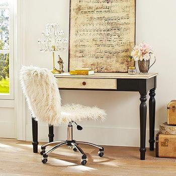 Storage Furniture - Cassidy Desk | PBteen - black desk with cream drawer, distressed black kids desk, two tone kids desk,