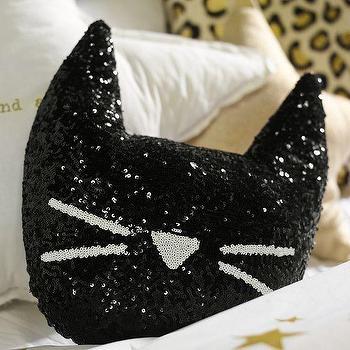 Pillows - The Emily + Meritt Sequin Cat Pillow | PBteen - cat shaped pillow, sequinned cat pillow, black cat sequinned pillow,