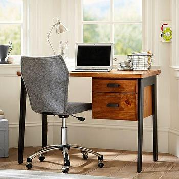 Storage Furniture - Colton Small Desk | PBteen - wooden desk with iron legs, wood and iron desk, iron based kids desk,