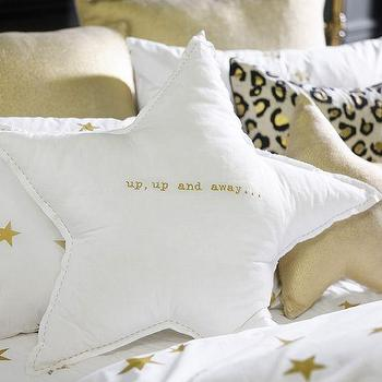 Pillows - The Emily + Meritt Up Up And Away Pillow | PBteen - white star pillow, star shaped pillow, up up and away pillow,