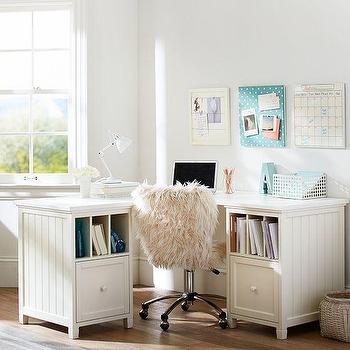 Storage Furniture - Beadboard Corner Divider Desk | PBteen - beadboard corner desk, white beadboard kids desk, beadboard paneled kids desk,