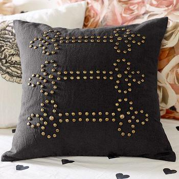 Pillows - The Emily + Meritt Band Jacket Pillow Cover | PBteen - gray studded pillow, gray pillow with gold studs, studded charcoal gray pillow,