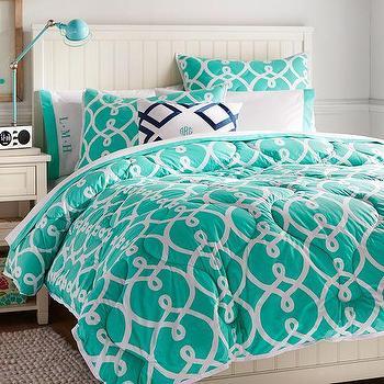 Bedding - Totally Trellis Comforter + Sham, Pool | PBteen - turquoise trellis comforter, turquoise and white comforter, turquoise patterned kids comforter,