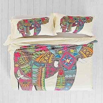 Bedding - Sharon Turner for DENY Painted Elephant Duvet Cover I Urban Outfitters - elephant print bedding, multi colored elephant duvet, african elephant bedding, painted elephant print duvet,