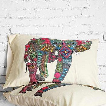 Bedding - Sharon Turner For DENY Elephant Pillowcase Set I Urban Outfitters - elephant print pillow shams, embroidered elephant pillow shams, elephant print pillowcase,