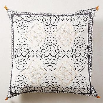Bedding - Enmore Embroidered Euro Sham I anthropologie.com - embroidered black and white euro sham, screen printed euro sham, black and white screen print pillow sham,