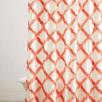Bath - Ruffled Trellis Shower Curtain I anthropologie.com - orange trellis shower curtain, ruffled trellis shower curtain, orange lattice shower curtain,