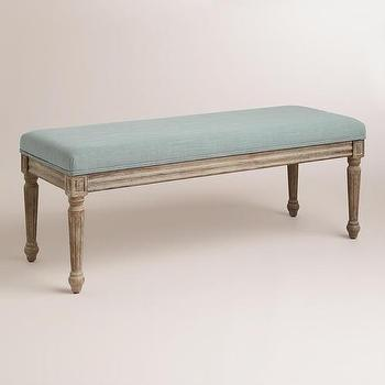 Seating - Blue Paige Bench | World Market - blue green upholstered bench, distressed gray bench, gray wash bench ottoman,