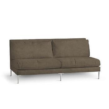 Seating - Contemporary Sofa I Wisteria - armless contemporary sofa, armless brown sofa, brown sofa with silver legs,