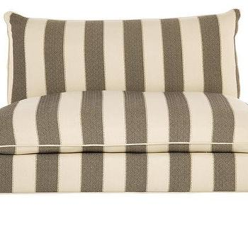 Seating - Morris Sofette | Jayson Home - taupe and cream striped sofette, taupe striped settee, taupe striped armless settee,