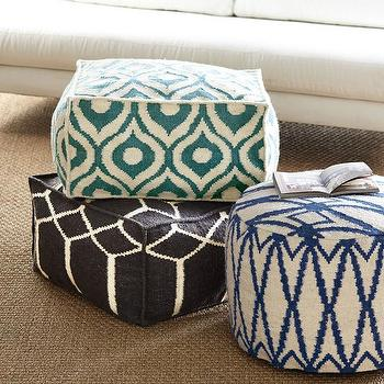 Seating - Moroccan Pouf I Wisteria - moroccan floor pouf, dhurrie floor pouf, moroccan teal floor pouf, blue moroccan floor pouf, dark brown moroccan floor pouf,