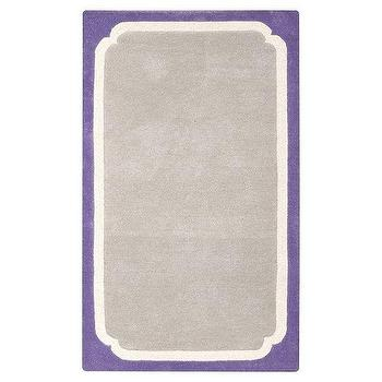 Rugs - Color Pop Border Rug, Purple | PBteen - gray rug with purple border, purple and gray rug, gray and purple kids rug,