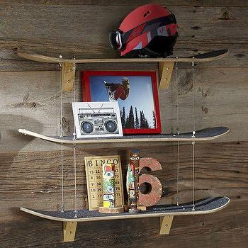 Art/Wall Decor - Skateboard Shelf | PBteen - skateboard shelf, skateboard shelves, skate board wall shelf,