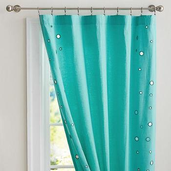 Window Treatments - Linen Mirror Drape | PBteen - turquoise mirror trimmed drapes, turquoise sequinned drapes, turquoise drapes with silver sequins,