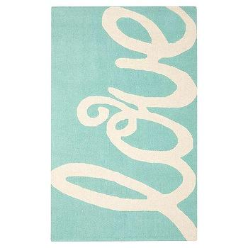 Rugs - Love Rug, Pool | PBteen - turquoise and white kids rug, turquoise love print rug, aqua blue love print rug,