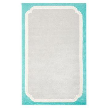 Rugs - Color Pop Border Rug, Pool | PBteen - gray and turquoise rug, gray rug with turquoise border, turquoise and gray kids rug,
