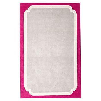 Rugs - Color Pop Border Rug, Pink Magenta | PBteen - gray rug with pink border, pink and gray kids rug, pink framed gray rug,