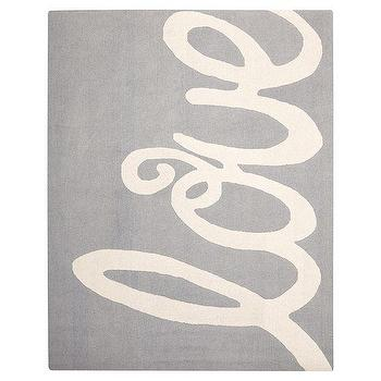 Rugs - Love Rug, Gray | PBteen - gray and white kids rug, gray love print rug, gray love kids rug,