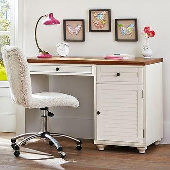 Tables - Whitney Cabinet Pedestal Desk | PBteen - white louvered desk, louver front desk, white desk with shutter doors,