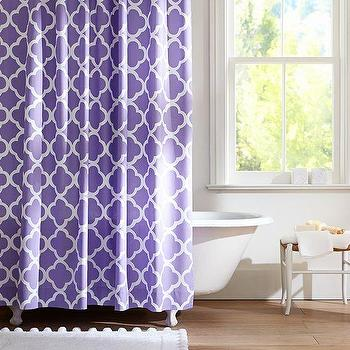Bath - Lucky Clover Shower Curtain, Purple | PBteen - purple quatrefoil shower curtain, purple four leaf clover shower curtain, purple lattice shower curtain,