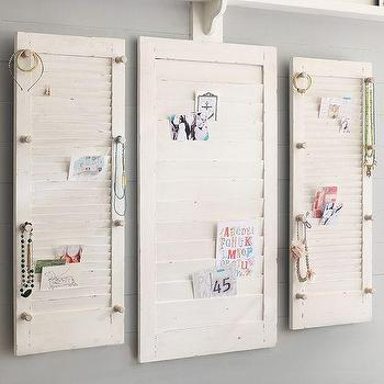 Art/Wall Decor - Shutters Wall Organizer | PBteen - shutters memo board, shutters wall organizer, white shutter memo holder,