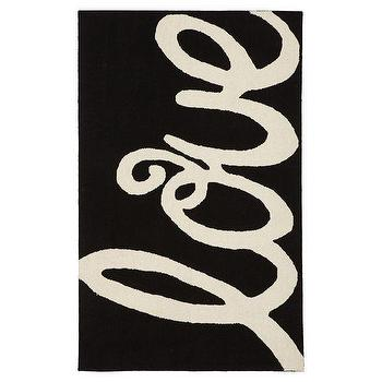 Rugs - Love Rug | PBteen - black and white love rug, love print rug, love word rug,