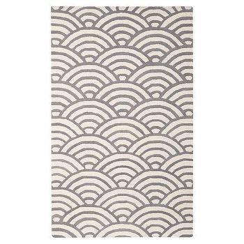 Rugs - Scallop Rug, Gray | PBteen - gray and white scallop rug, gray scallop print rug, gray and white fish scale rug,