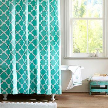 Bath - Lucky Clover Shower Curtain, Pool | PBteen - turquoise quatrefoil shower curtain, turquoise geometric shower curtain, turquoise lattice shower curtain,