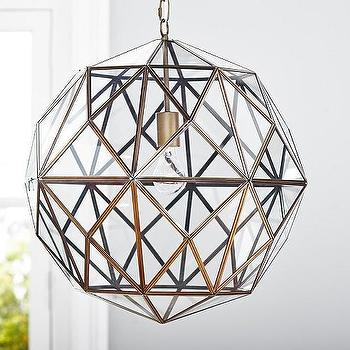 Lighting - Glass & Metal Cage Pendant | Pottery Barn Kids - geometric metal pendant, metal caged pendant light, brass and glass pendant light,
