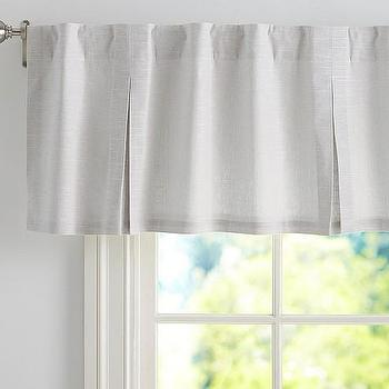 Window Treatments - Evelyn Linen Valance | Pottery Barn Kids - gray window valance, gray linen window valance, box pleated linen valance,