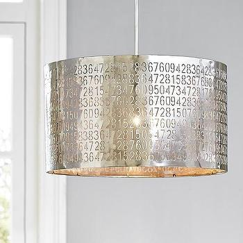 Lighting - Metal Flush Mount Drum With Numbers | Pottery Barn Kids - industrial numbered pendant, numbered drum pendant, pierced number drum pendant,
