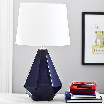 Lighting - Weston Complete Lamp | Pottery Barn Kids - geometric navy blue lamp, faceted navy blue lamp, navy blue diamond lamp,