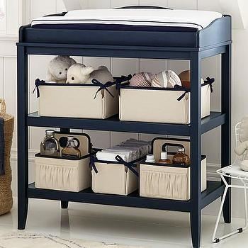 Storage Furniture - Emerson Changing Table | Pottery Barn Kids - navy blue changing table, navy two shelf changing table, open shelf changing table,