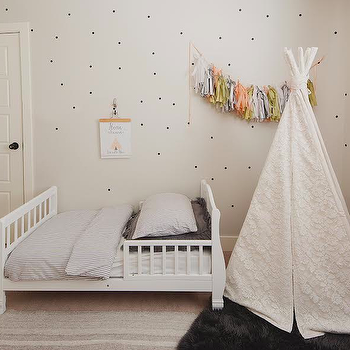 Oh My Dear Blog - boy's rooms - toddler beds, white toddler bed, dotted walls, white and gray kids bedding, ticking stripe duvet, teepee, embroidered teepee, kids teepee,