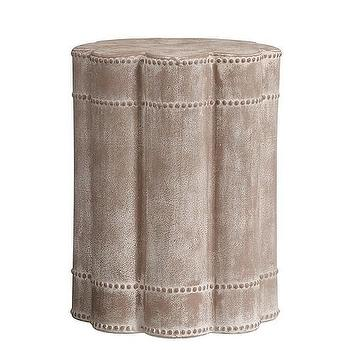 Tables - Lorelei Beaded Side Table | Pottery Barn Kids - scalloped side table, weathered gray accent table, scalloped gray accent table,